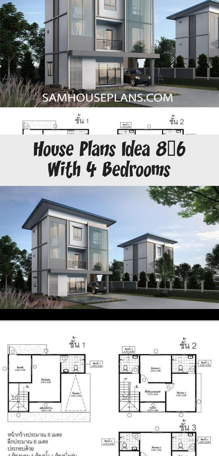 House Plans Idea 8x6 With 4 Bedrooms Sam House Plans Floorplans4bedroomsquarefeet Floorplans4bedroomco In 2020 House Plans Floor Plan 4 Bedroom Modern Architecture