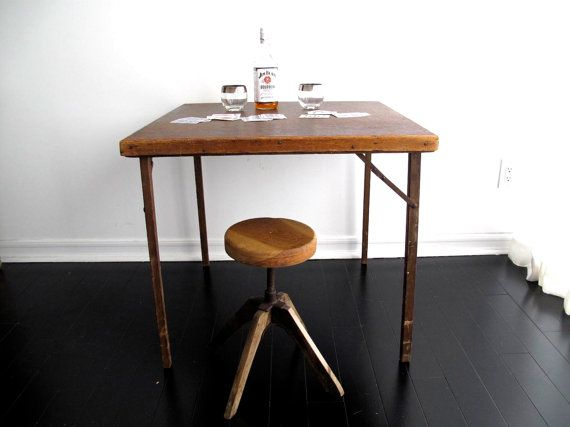 Antique Wood Card Table   Folding Square Table   Industrial Furniture    Rustic, Distressed