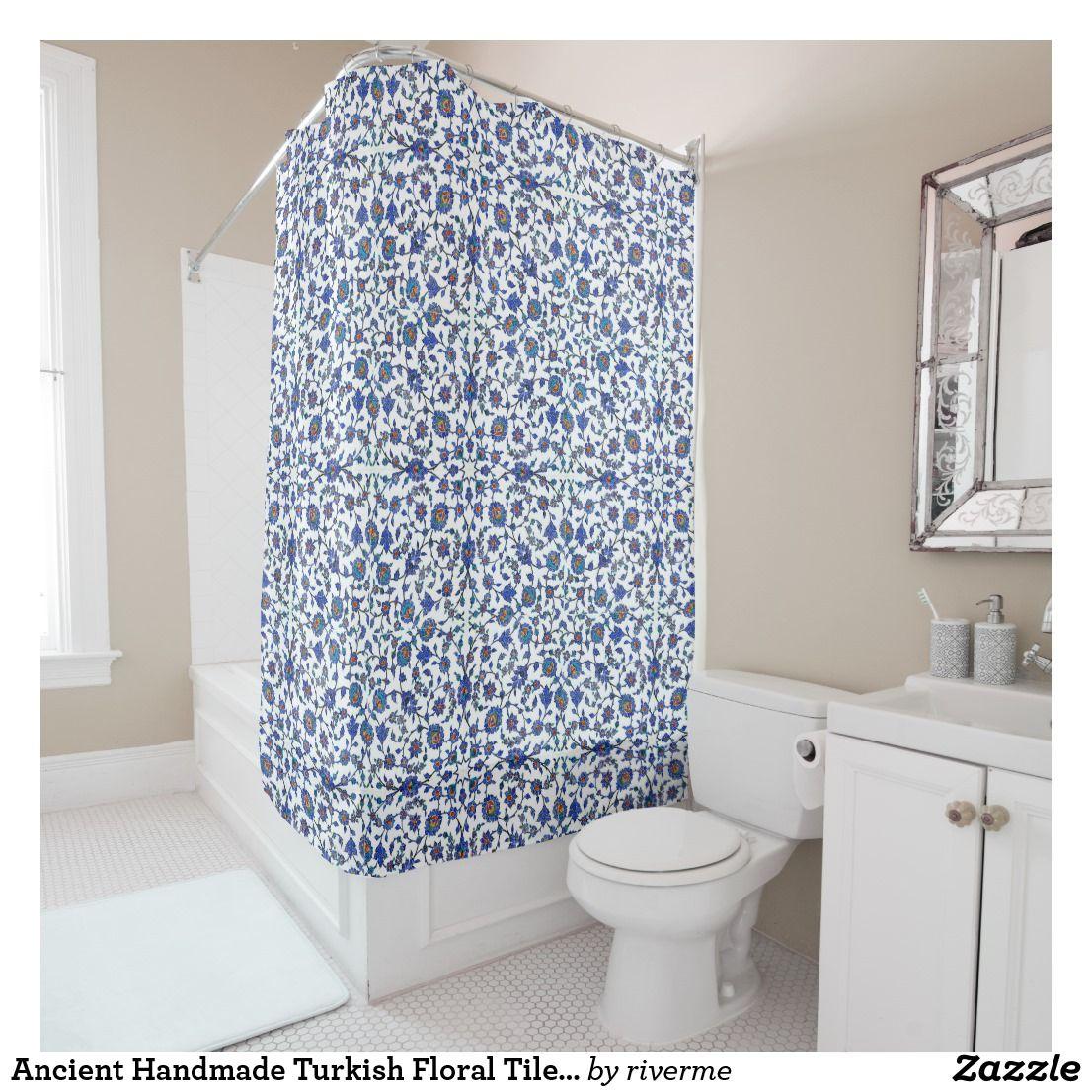 Ancient Handmade Turkish Floral Tiles Pattern Shower Curtain | Tile ...