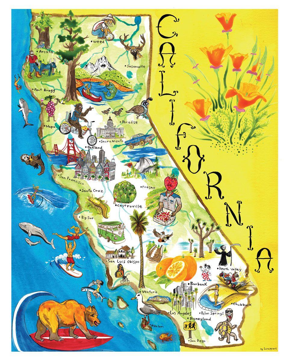 Printable Map Of California Map Of California Art Print By - Map of californai