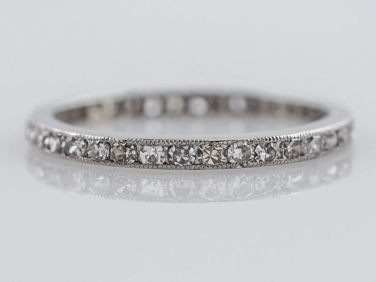Antique Eternity Wedding Band Art Deco 57ct Single Cut Diamonds In Platinum Minneapolis