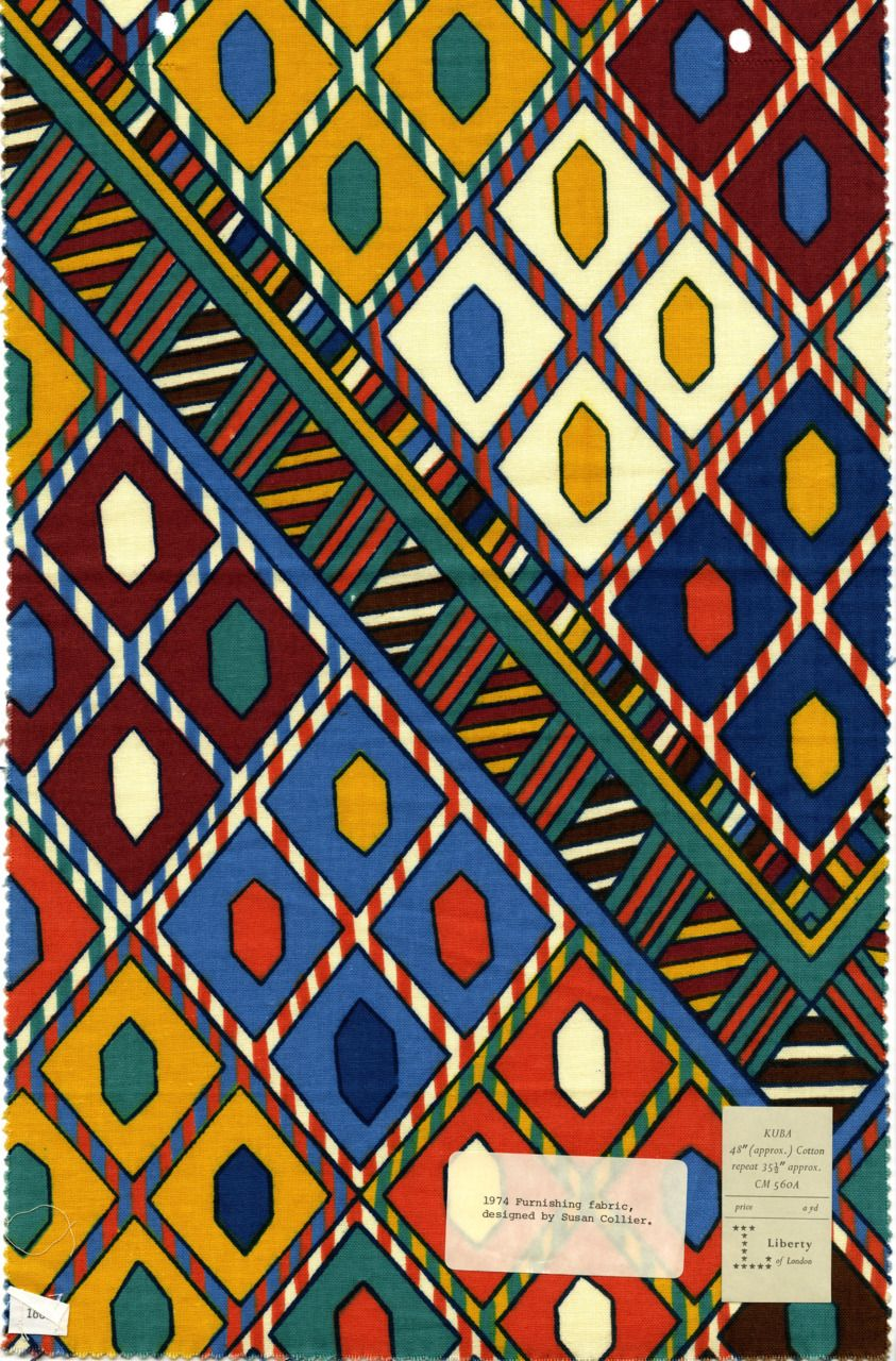 Kuba. Liberty of London Prints. Furnishing fabric designed by Susan Collier in 1974. (From The Design Center at Philly University)