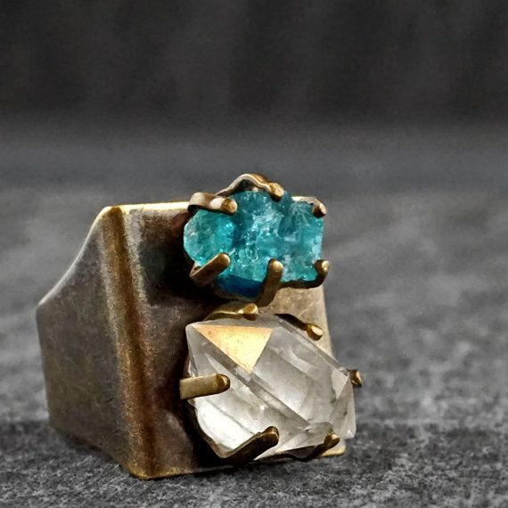 The APATITE & HERKIMER DIAMOND Shield Statement ring - adjustable