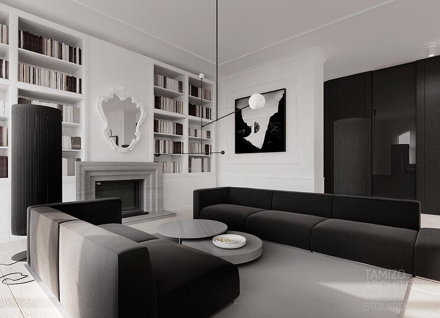 Projekt wn trz mieszkania w zabytkowej kamienicy warszawa for Modern flat interior