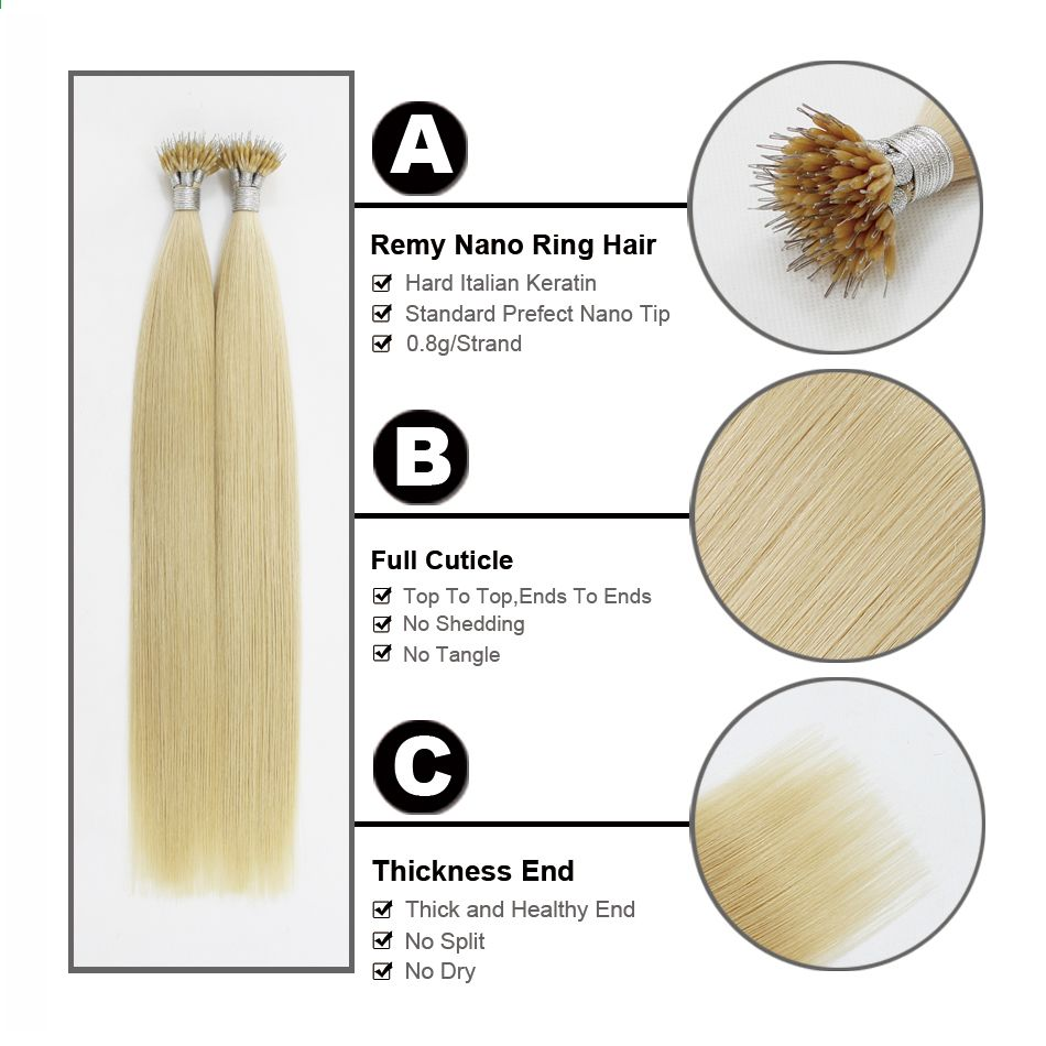 FOREVER HAIR 0,8g / s 16 18 20 Remy Micro Ring Perler Human Hair Extensions Light Blonde # 613 Pre Bonded Nano Ring Human Hair #humanhairextensions