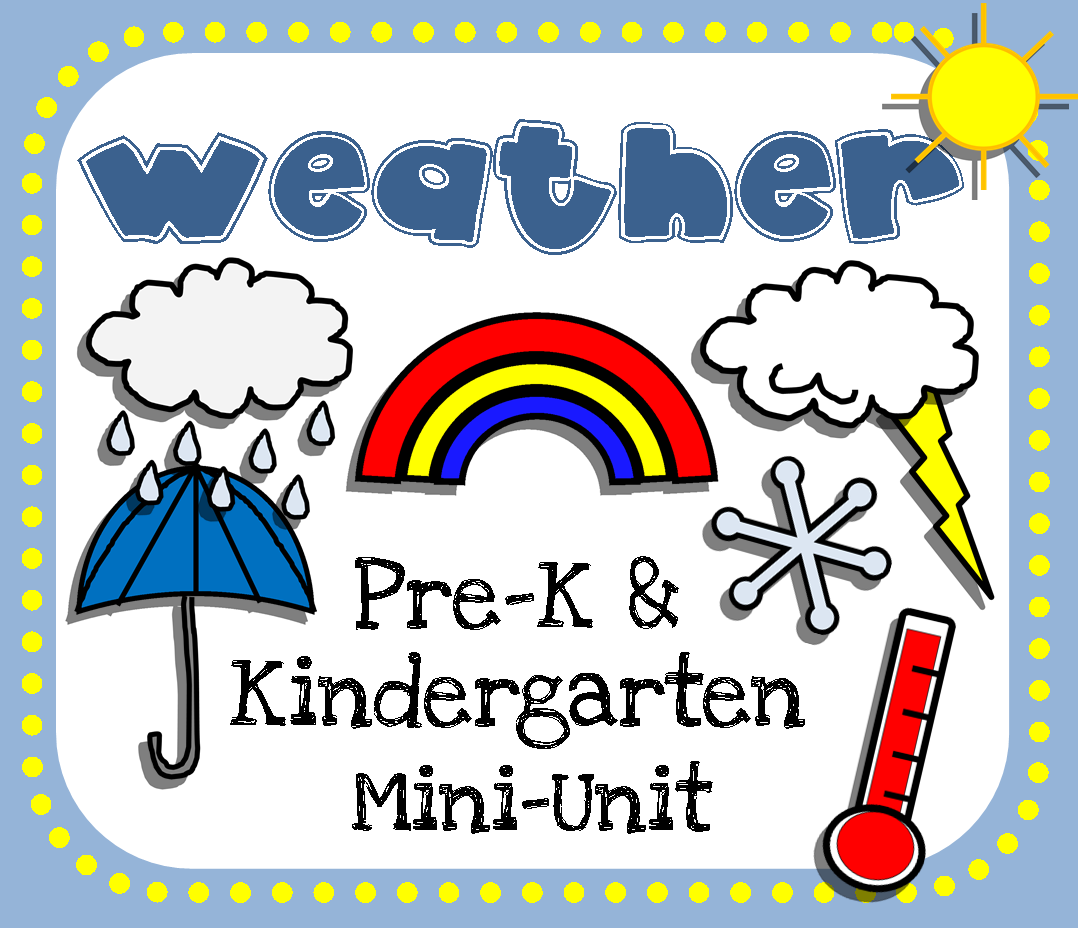 Weather printable mini-unit for pre-k and kindergarten! Would be a great supplement to units on seasons, or for preschool, homeschool, or classroom centers! 26 pages.