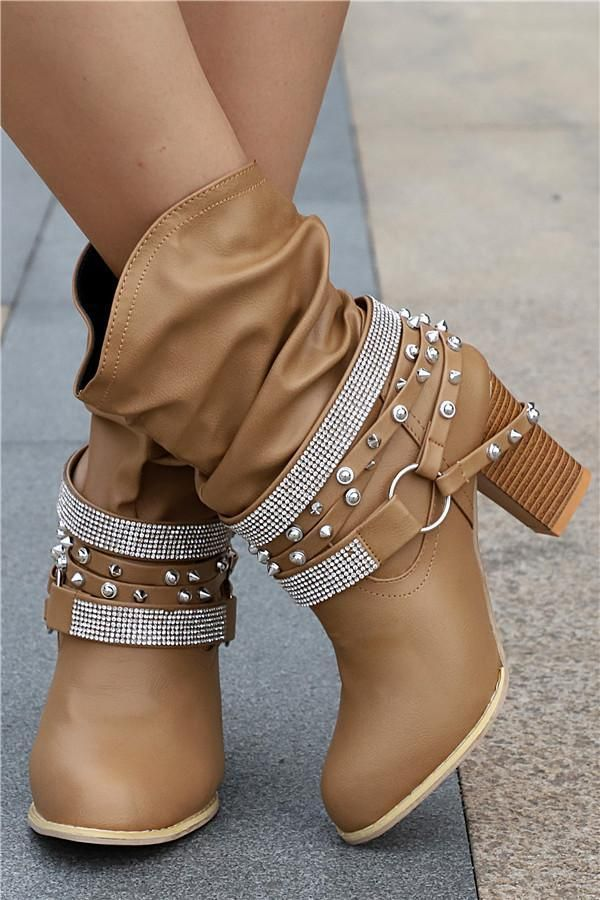 Fashion High Heels Buckle Womens Shoes Round Head High Boots