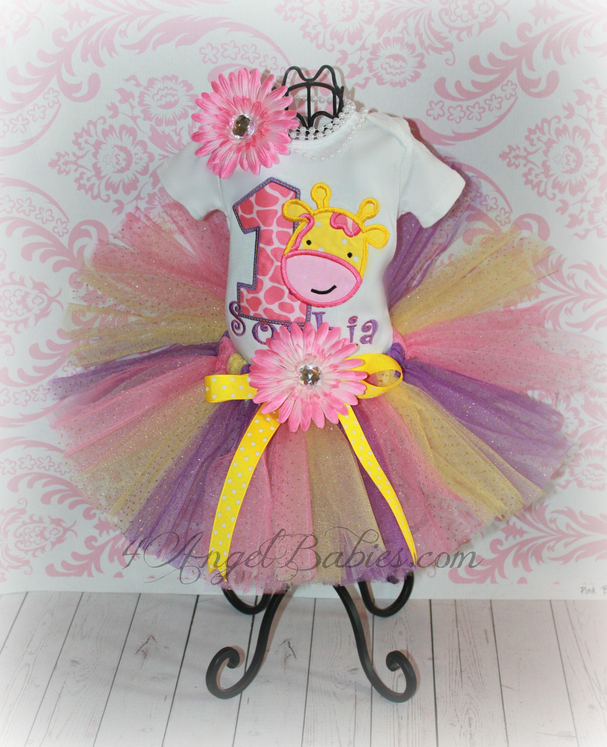 68cbbe9b33e2 Giraffe Baby Girls Birthday Tutu Outfit Pink