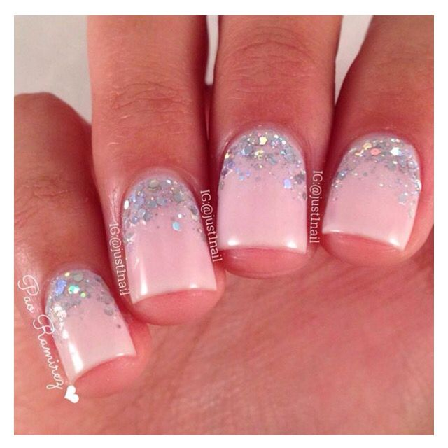 Pink nails with silver holo glitter nail art half moons nail pink nails with silver holo glitter nail art half moons prinsesfo Image collections
