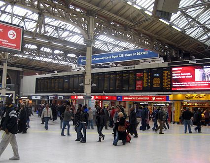 Victoria Station...great people watching but I miss the old boards with the flipping departure times.