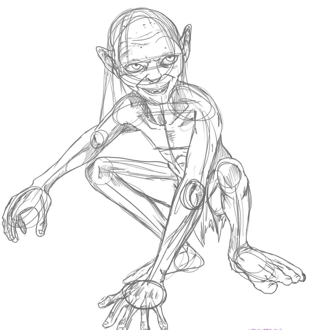 Lord Of The Rings Gollum Coloring Pages Drawings Lord Of The Rings Cartoon Drawings