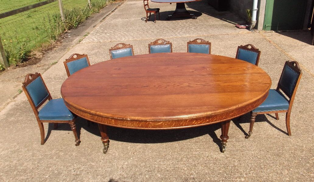 Large 10 Seater Reclaimed Oak Hardwood Oval Dining Table 2 4x1 2