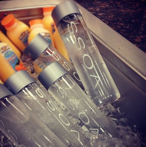 VOSS on ice with a little OJ for dessert. #VOSS