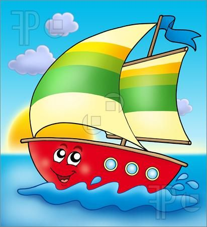 Illustration Of Cartoon Sailing Boat With Sunset With Images