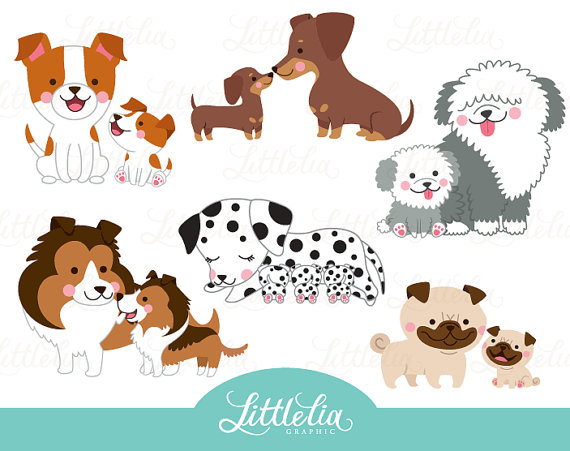 Dog Mom And Puppy Clipart Family Clipart 16053 Etsy In 2021 Puppy Clipart Clip Art Family Clipart