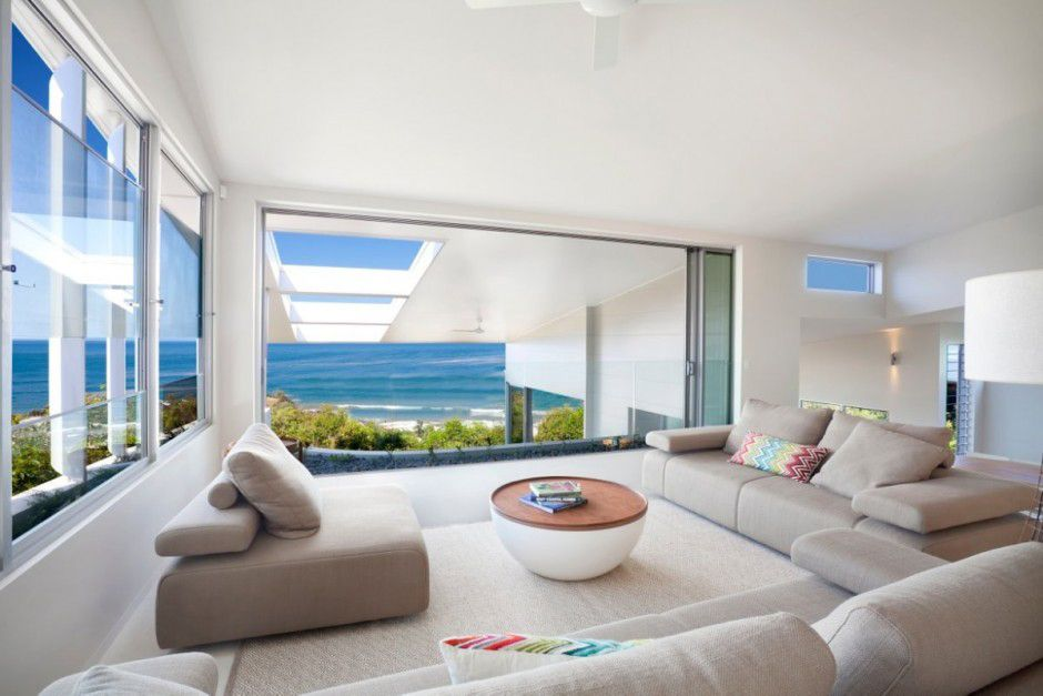 Bold exterior beach house with minimalist interiors architecture