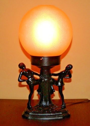 Vintage Art Deco Dancing Ladies Desk Lamp With Round Glass Shade