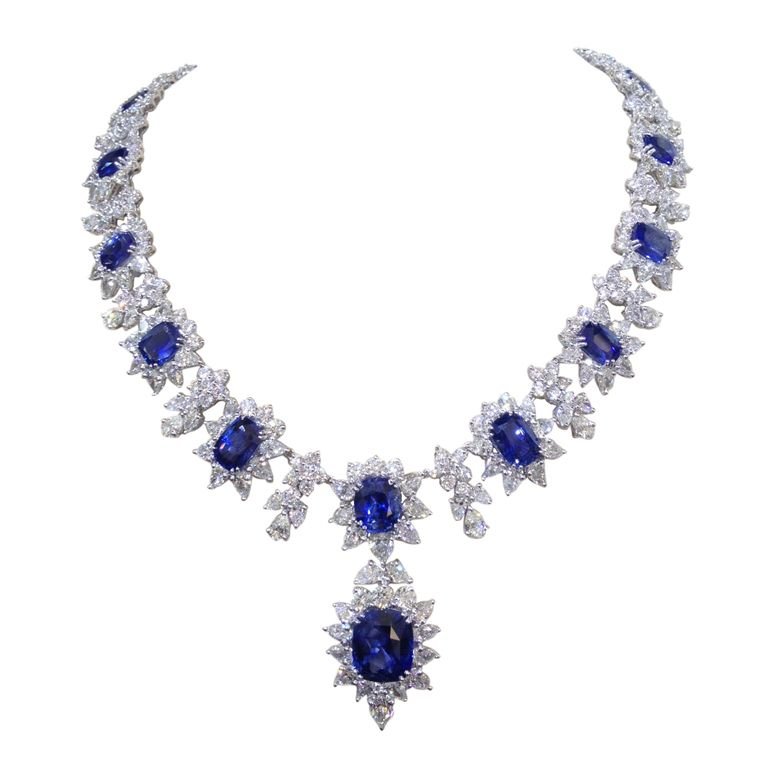 diamond and sapphire necklace set in platinum sapphire. Black Bedroom Furniture Sets. Home Design Ideas