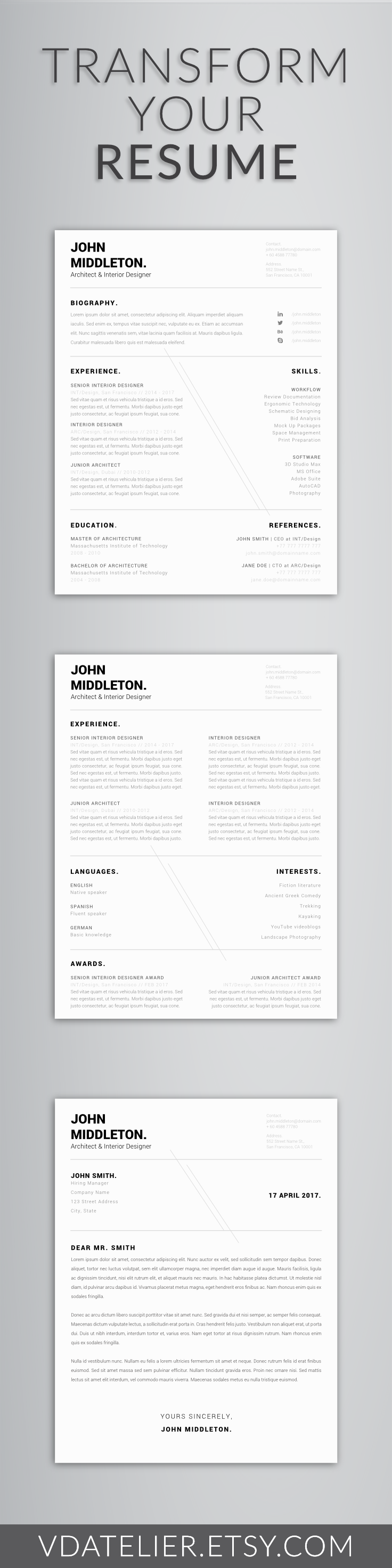 minimalist resume template for word professional men resume cover letter curriculum vitae us letter a4 12 page resume. Resume Example. Resume CV Cover Letter