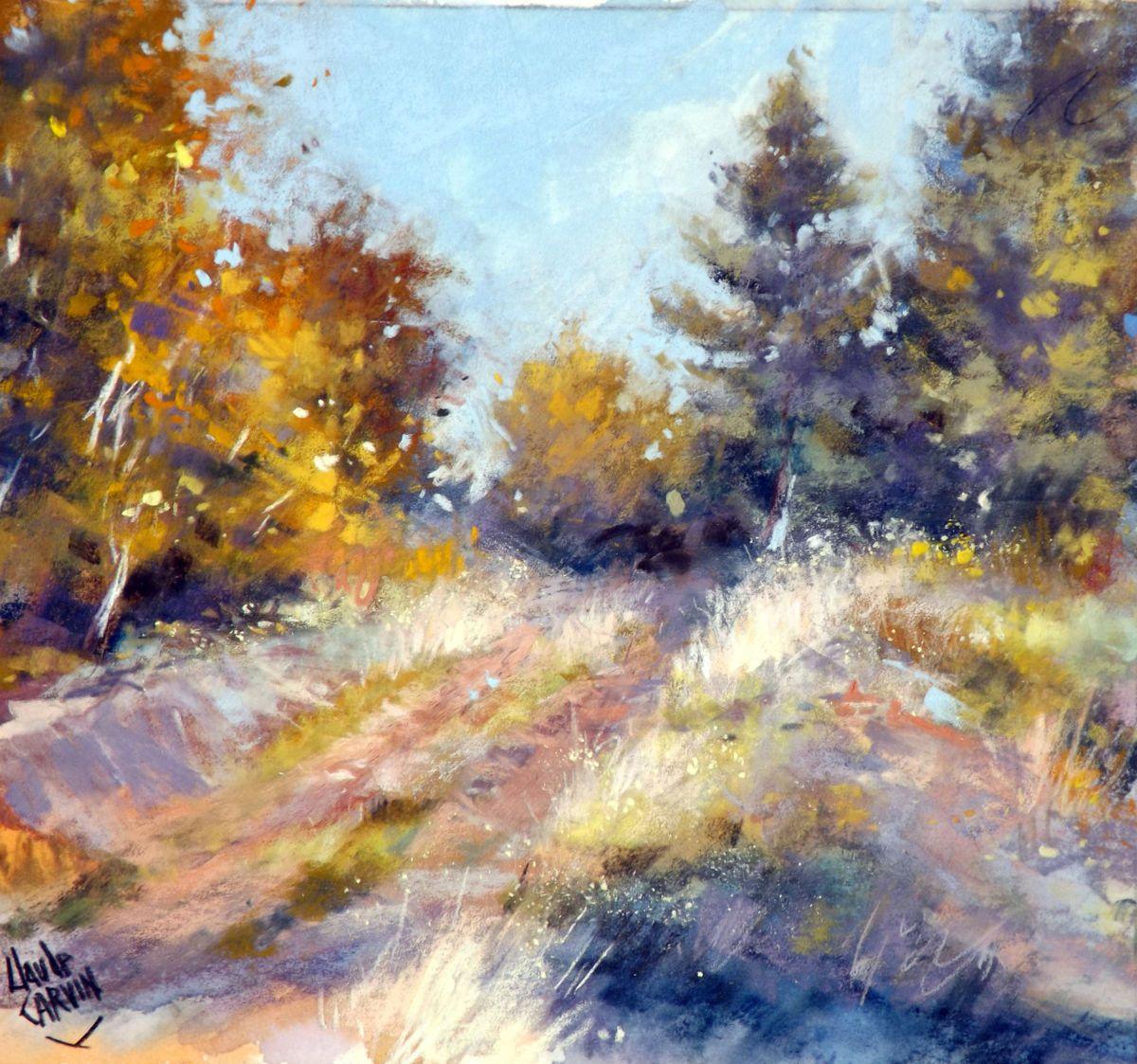 Sentier Vers La Foret Jpg Peinture 30×30 Cm Par Claude Carvin