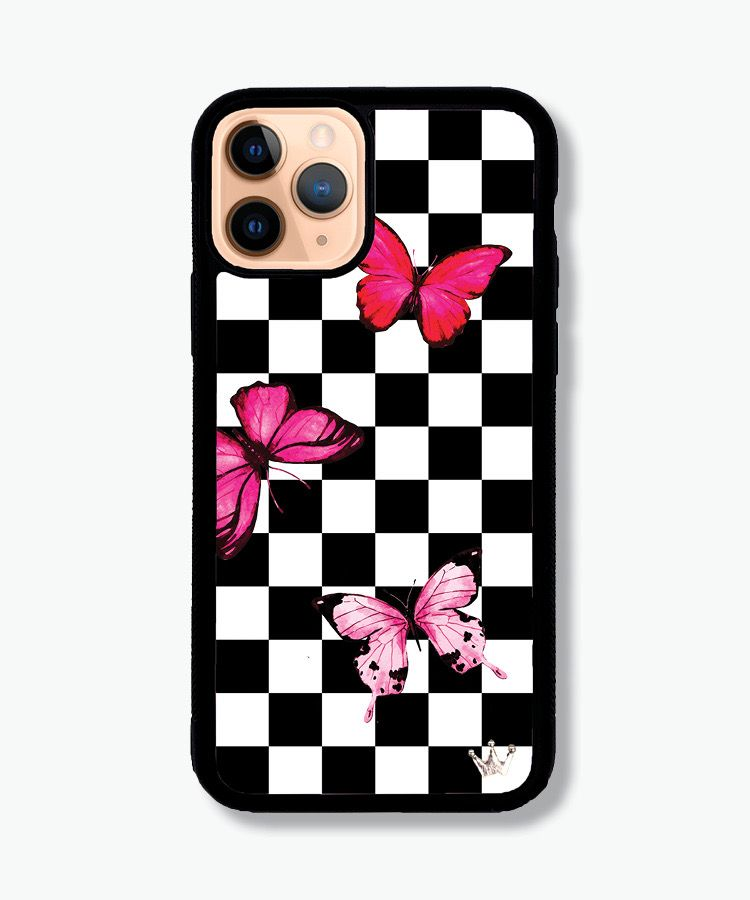 Lilac reign cases pink butterfly checks pink phone
