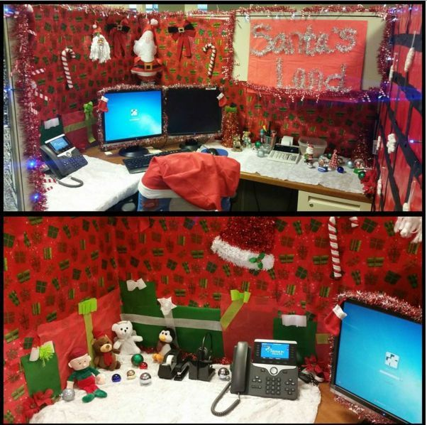 9 cubicle dwellers with serious christmas spirit for Cubicle decoration xmas