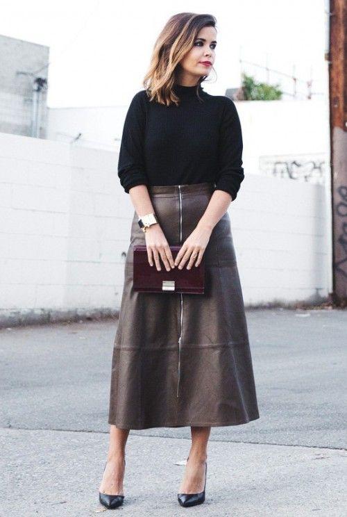 f0d2a58b099 коричневая кожаная юбка