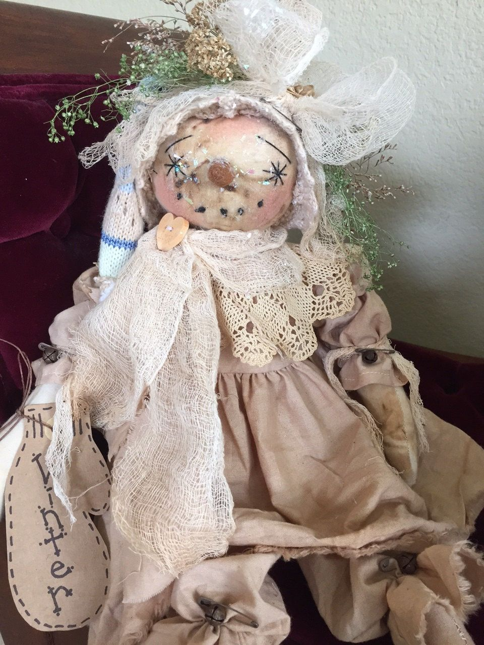 "Primitive Folk Art Snowman Girl Doll ""Vanilla"" by Tattered Magnolia by…"