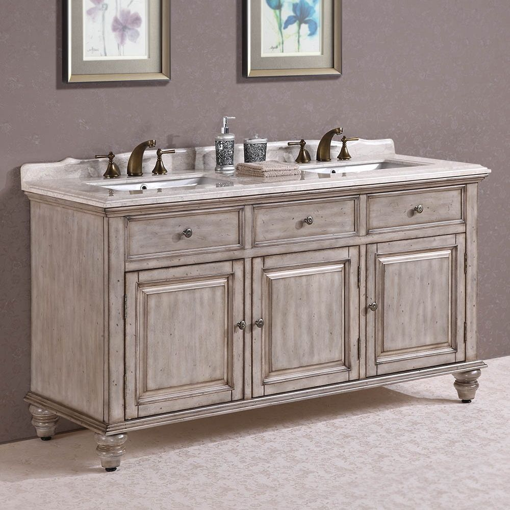 Legion Furniture Breccia Oniciata Marble Top 67 Inch Antique White Double Sink Bathroom Vanity With Turned Bun Feet By Legion Furniture