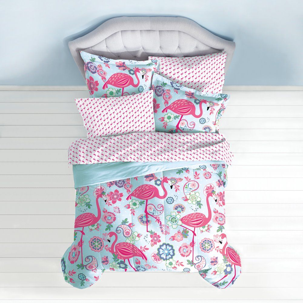 Dream Factory Flamingo Bed in a Bag Bedding set w/ Reversible Comforter, Pink