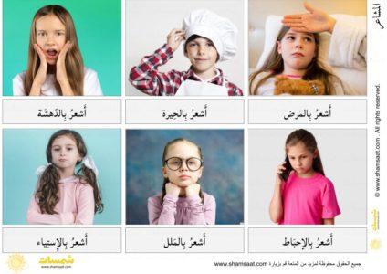 بطاقات المشاعر والعواطف المصورة باللغة العربية 2 Preschool Worksheets Emotional Intelligence Emotions