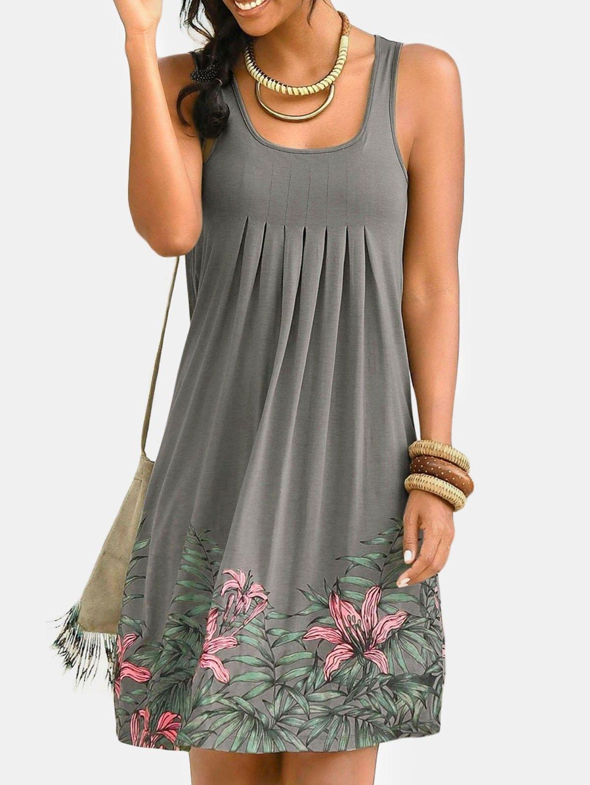 Floral Print Sleeveless Pleated Dress Gray 5z47270612 Size S Sleeveless Dresses Casual Casual Dresses Womens Dresses [ 1596 x 1200 Pixel ]