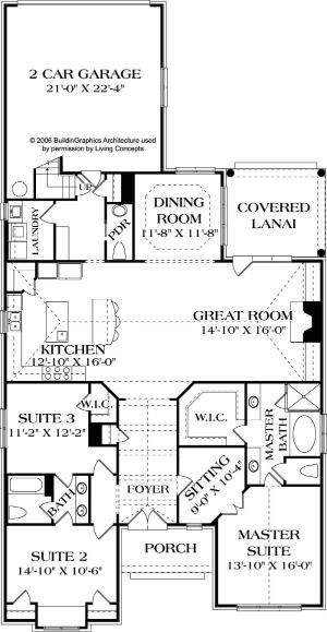 Living Concepts House Plans   Muldoon Plan No. B 2243   2,243 (+366 Bonus  Upstairs) Sq Ft   1.5 Story   3 Bed   2.5 Bath    I Lu2026 | FLOOR Plan For  House In ...