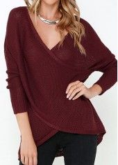 V Neck Long Sleeve Wine Red Sweater