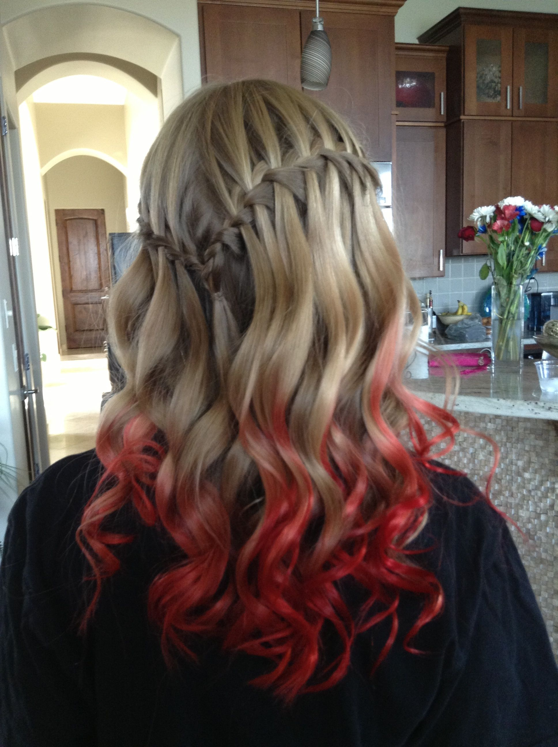 Red Ombre Hair Kool Aid Dip Dye This Is Actually Really Pretty Dip Dye Hair Blonde Hair With Red Tips Kool Aid Hair