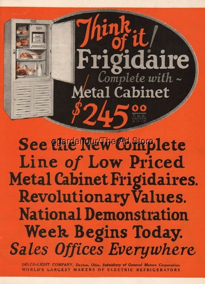 1926 Frigidaire Electric Refrigerator Delco Light Dayton Oh 20s Kitchen Decor Ad Household Appliance Kitchen Decor Household