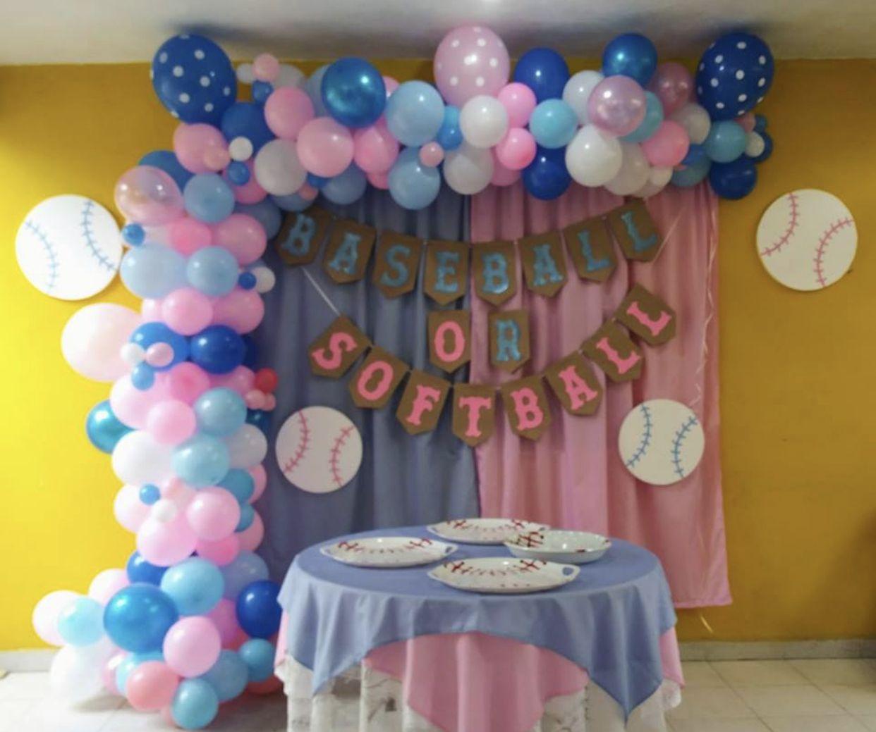 Gender Reveal Boy Or Girl Baseball Or Softball Baseball Gender Reveal Gender Reveal Decorations Baby Gender Reveal Party