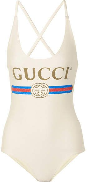 97152ac146aae Gucci - Printed Swimsuit - Ivory