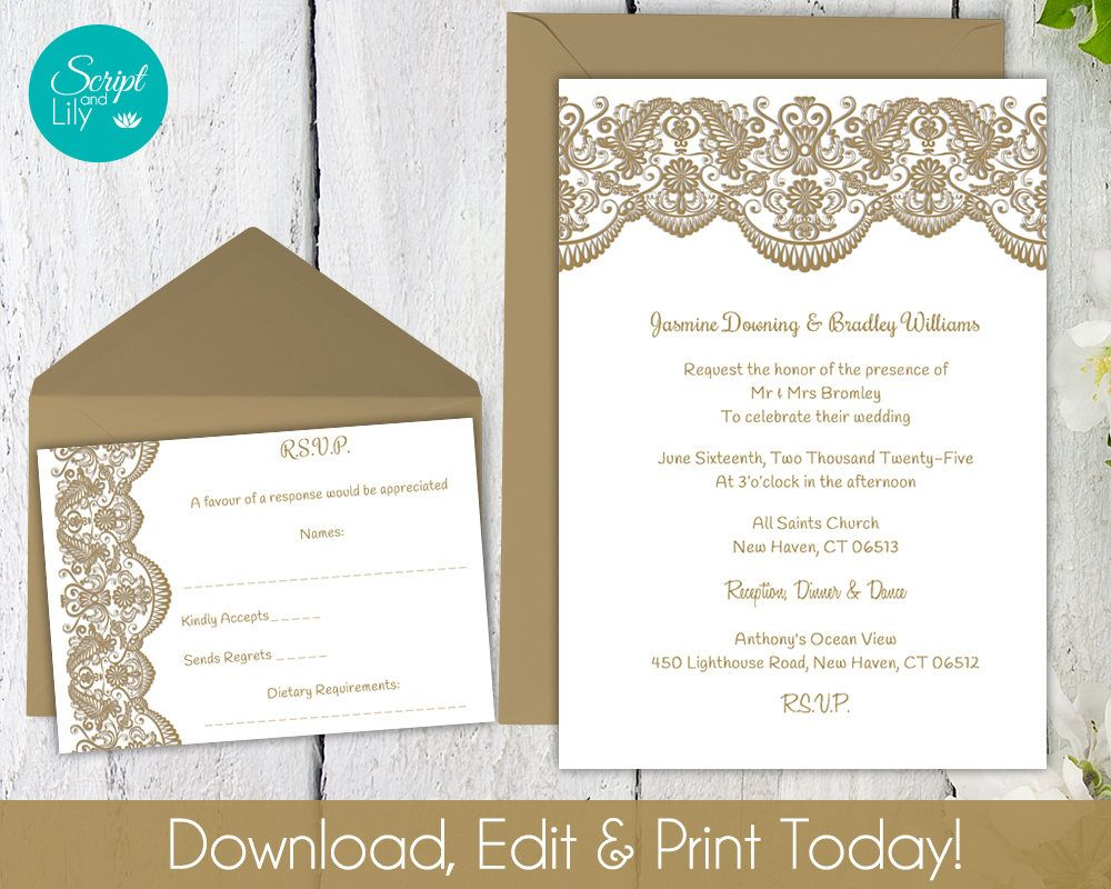 Printable Lace Invitation Template   FREE Response Cards   Wedding ...