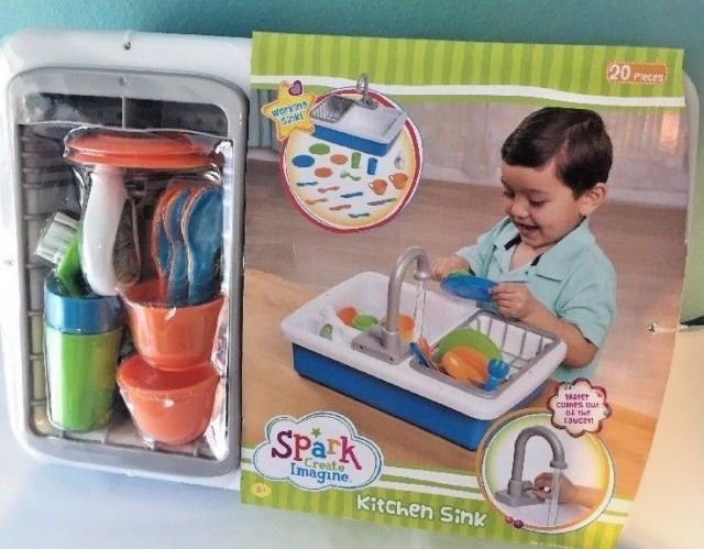 Spark Kitchen Sink Create Imagine Kids Play Toy Running Water Washing Dishes New Kids Play Toys Kids Playing Washing Dishes