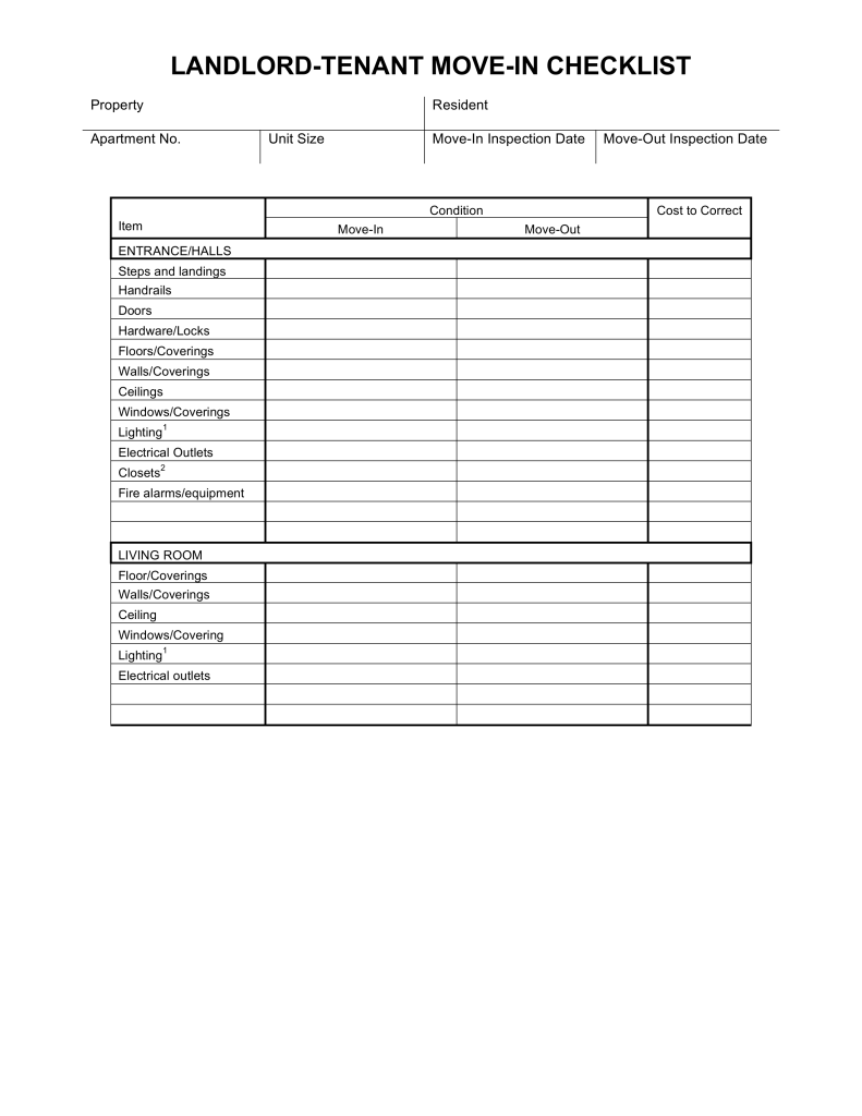 Move In Move Out Checklist For Landlord Tenant Eforms Free Fillable Forms Being A Landlord Moving Checklist Moving Out Checklist