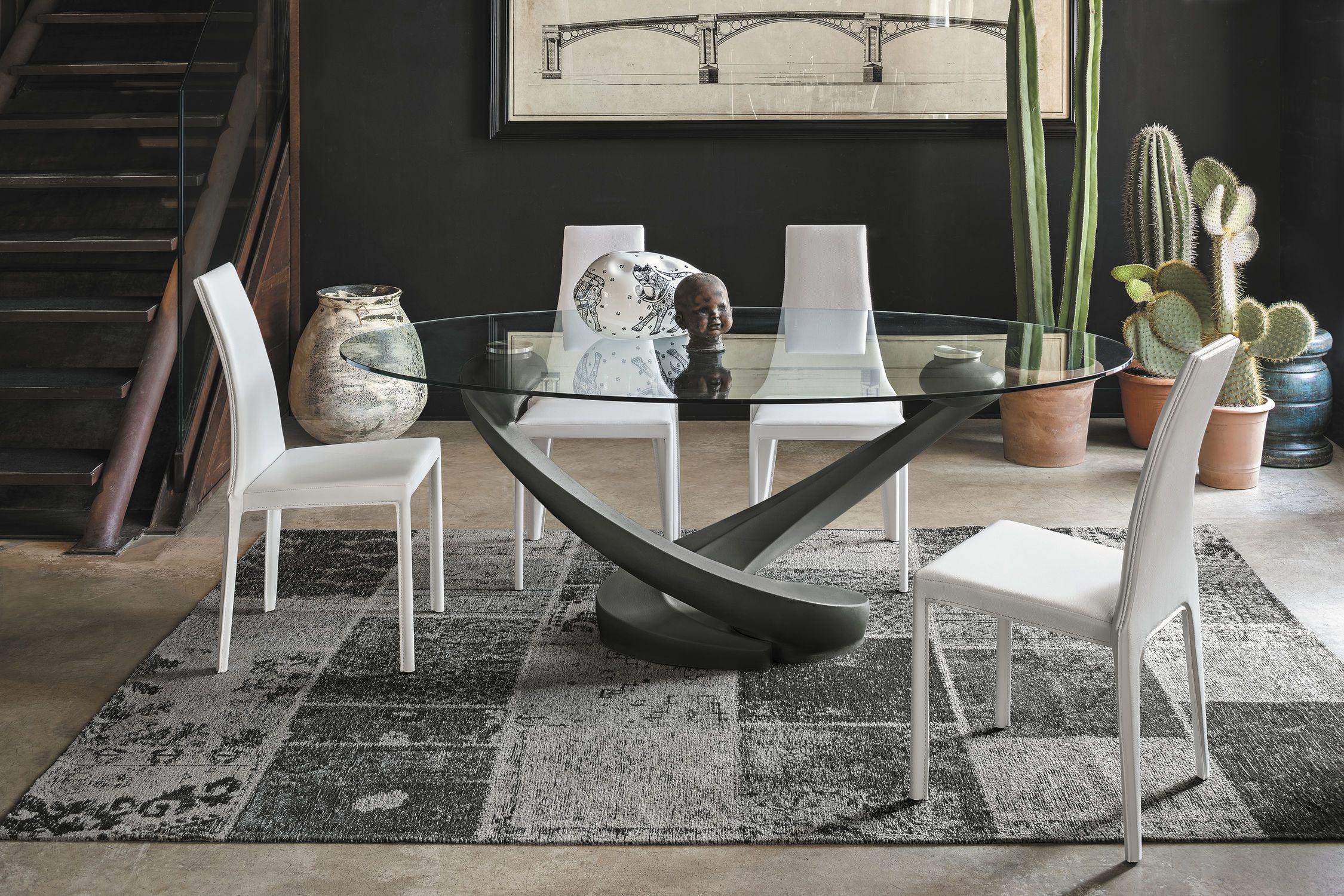 Tavolo Cristallo Moderno.Tavolo Da Pranzo Moderno In Vetro Temprato Ovale Tango In