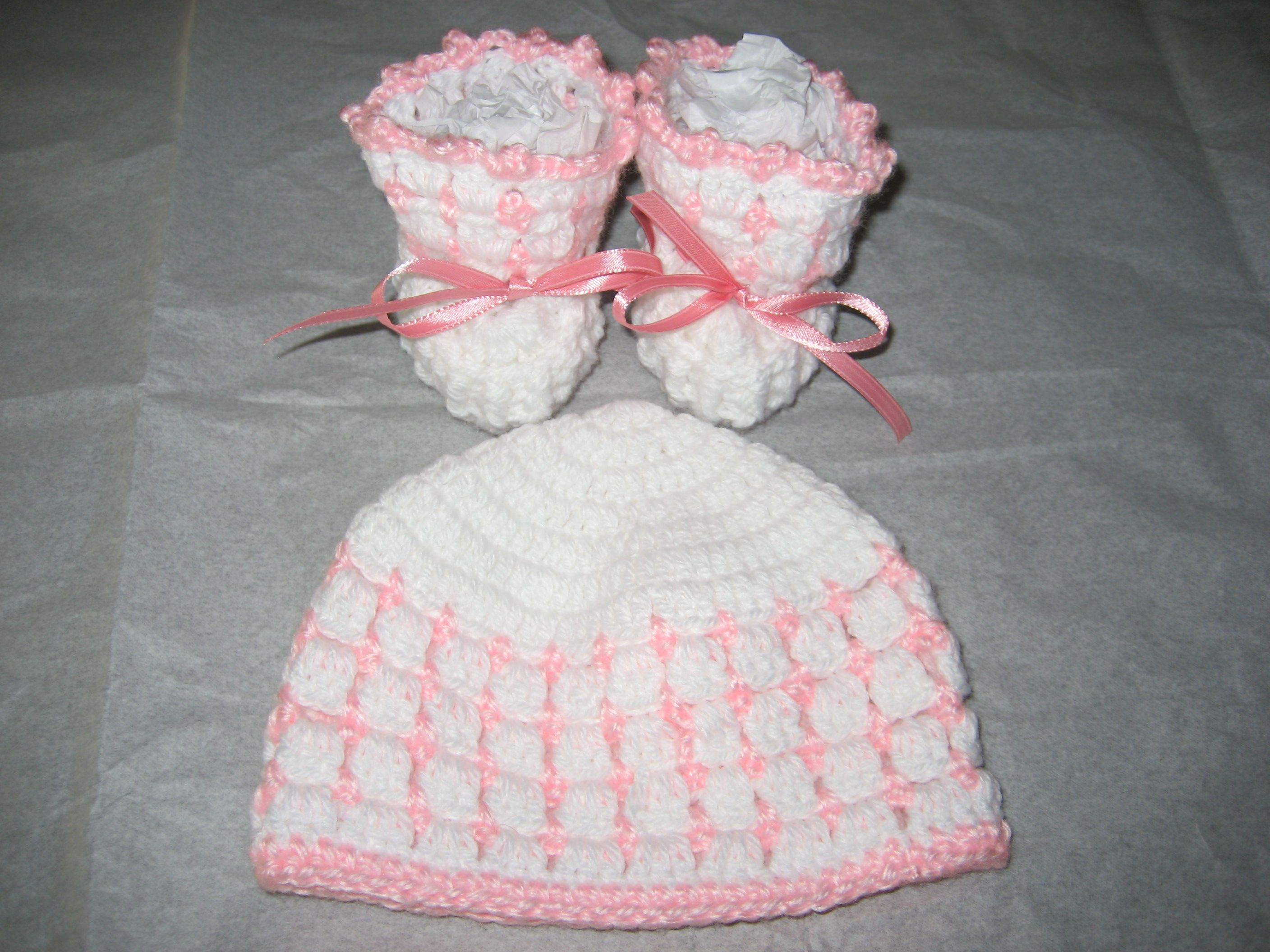 Baby booties and hat.