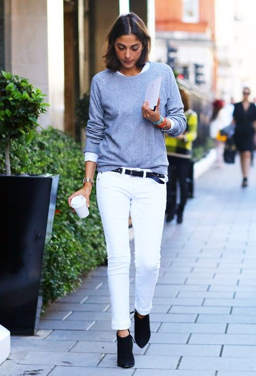 slouchy sweater white pants combo office chic casual woman