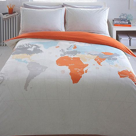 Capturing his cool and contemporary style this bedding set is ben de lisi home light grey world map print bedding set publicscrutiny Image collections