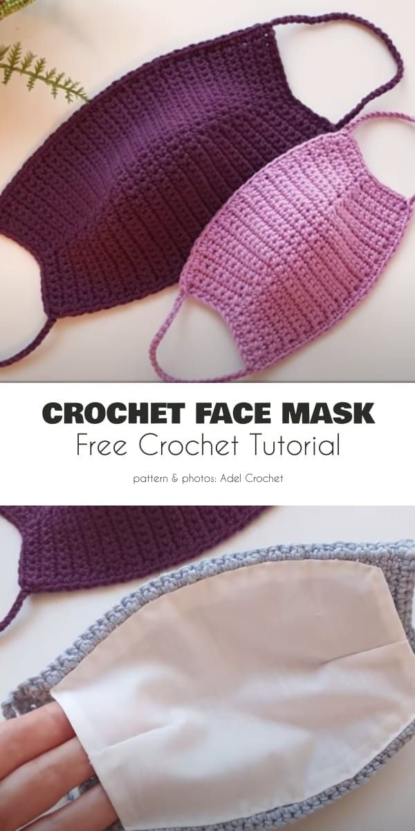 Fabric Lined Adult Face Mask Free Crochet Patterns
