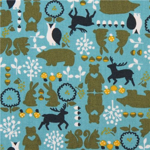 teal bear owl acorn forest animal cotton fabric from Japan 2