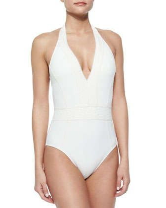 4753febc0b7 Neo Bohemia Halter One-Piece Swimsuit by Red Carter at Neiman Marcus.