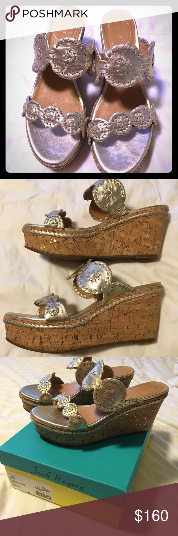 Jack Rogers Leigh Wedge Size 8 Platinum Worn them once for 3 hours!  My foot is just way too narrow to keep them on my feet! Jack Rogers Shoes Wedges