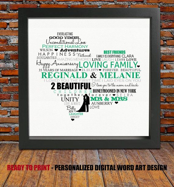 Personalized Anniversary Gift 35th Wedding By BlingPrints On Etsy